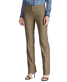 Lauren Ralph Lauren Petite Glen Plaid-Print Straight-Leg Pants