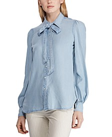 Petite Tie-Neck Chambray Shirt