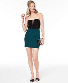 Juniors' Strapless Colorblocked Dress