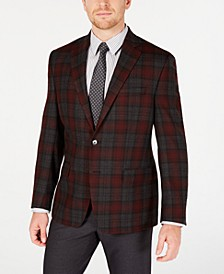 Men's Classic-Fit UltraFlex Stretch Red Plaid Sport Coat