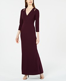 Calvin Klein Split-Shoulder Gown