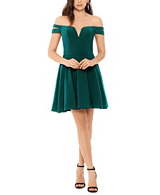 XSCAPE Off-The-Shoulder Fit & Flare Dress