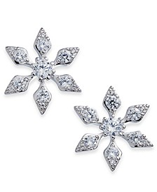 Danori Silver-Tone Cubic Zirconia Snowflake Stud Earrings, Created for Macy's