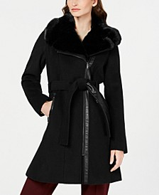 Petite Asymmetrical Belted Faux-Fur Collar Coat, Created for Macy's