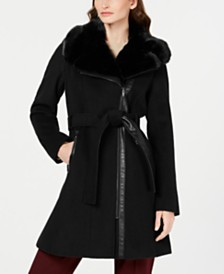 Via Spiga Petite Asymmetrical Belted Faux-Fur Collar Coat, Created for Macy's