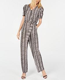 Petite Printed Puff-Sleeve Jumpsuit