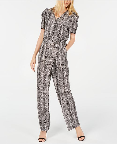 NY Collection Petite Printed Puff-Sleeve Jumpsuit