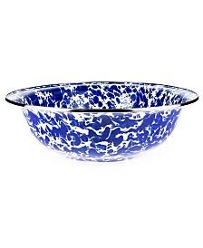 Golden Rabbit Cobalt Swirl Enamelware Collection 4 Quart Serving Bowl