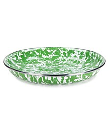 "Golden Rabbit Green Swirl Enamelware Collection 10"" Pasta Plate"