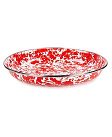 """Golden Rabbit Red Swirl Enamelware Collection 10"""" Pasta Plate"""
