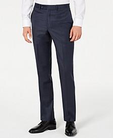 Men's Modern-Fit Stretch Navy Blue Double Pinstripe Suit Pants