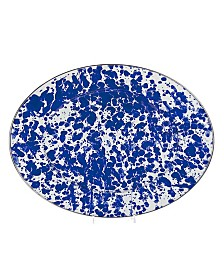 "Golden Rabbit Cobalt Swirl Enamelware Collection 16"" x 12"" Oval Platter"