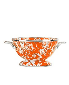 Golden Rabbit Orange Swirl Enamelware Collection 1 Quart Colander