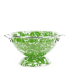 Golden Rabbit Green Swirl Enamelware Collection 1.5 Quart Colander