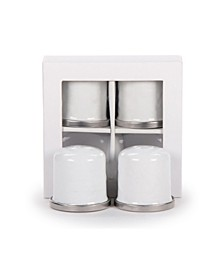 Solid White Enamelware Collection Salt and Pepper Shakers, Set of 2