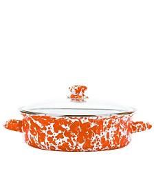 Golden Rabbit Orange Swirl Enamelware Collection 5 Quart Saute Pan