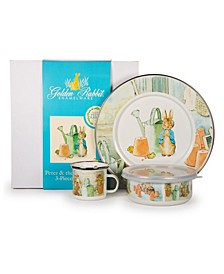 Peter and the Watering Can Enamelware Collection 3 Piece Kids Dinner Set