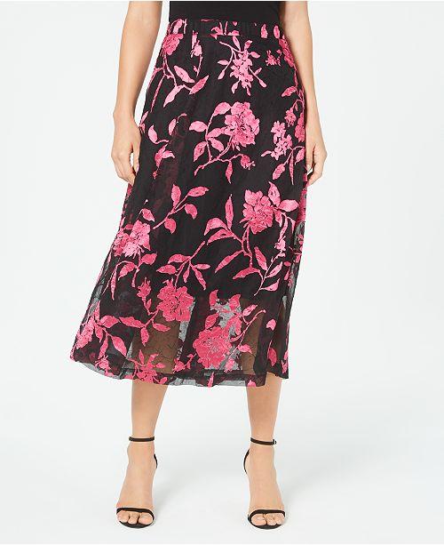 Alfani Printed Burnout Midi Skirt, Created For Macy's