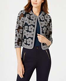 Cotton Mesh Gingham Floral Jacket