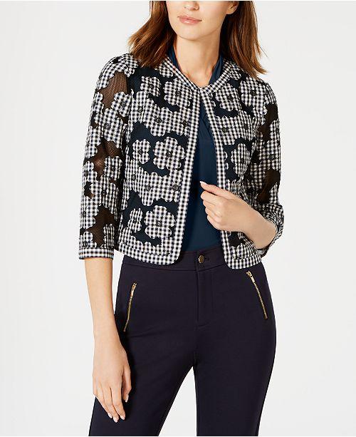 Anne Klein Cotton Mesh Gingham Floral Jacket