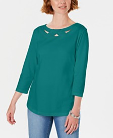 Karen Scott Three-Quarter-Sleeve Cutout Top, Created For Macy's