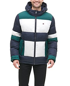 Men's Colorblocked Hooded Puffer Coat, Created for Macy's