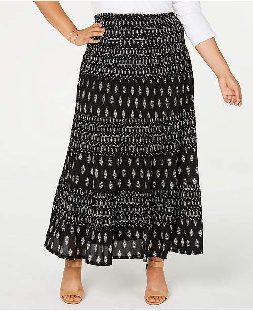 Style & Co Plus Size Printed Tiered Mesh Maxi Skirt, Created for Macy's
