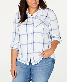 Plus Size Plaid Cotton Button-Front Top, Created for Macy's