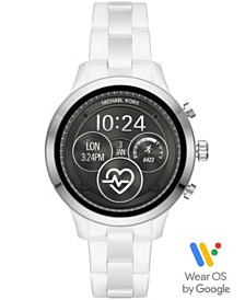 Michael Kors Access Unisex Runway White Ceramic Bracelet Touchscreen Smart Watch 44mm, Powered by Wear OS by Google™