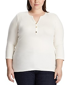 Lauren Ralph Lauren Plus Size Stretch Henley T-Shirt