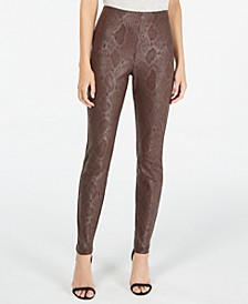 INC Petite Metallic Python-Embossed Skinny Pants, Created For Macy's
