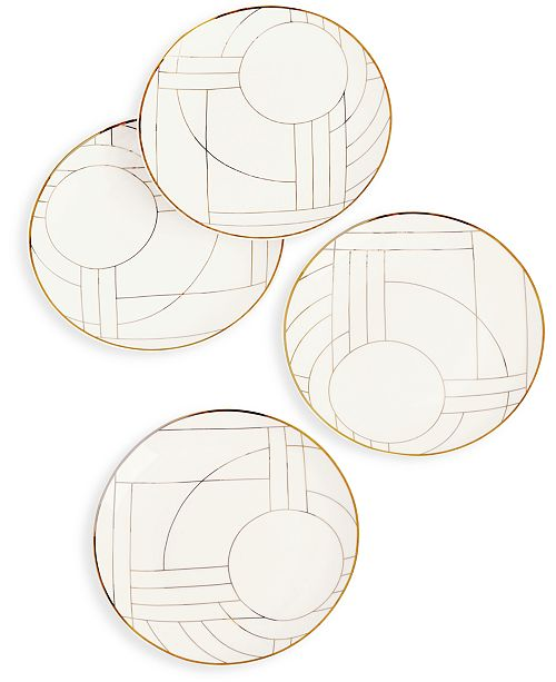 Hotel Collection Bone China Gold Decal Salad Plates, Set of 4, Created for Macy's