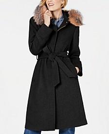 Belted Fox-Fur-Trim Walker Coat