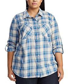 Plus Size Plaid-Print Button-Down Cotton Shirt
