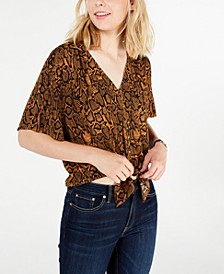 Juniors' Printed Tie-Front Top