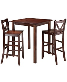 Winsome Wood Parkland 3-Piece High Table with 2 Bar V-Back Stools