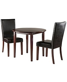 Clayton 3-Piece Set Drop Leaf Table with 2 Chairs