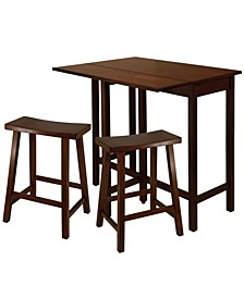 """Lynnwood 3-Piece High Drop Leaf Table with 24"""" Saddle Seat Stool"""