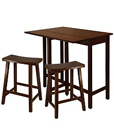 "Winsome Wood Lynnwood 3-Piece High Drop Leaf Table with 24"" Saddle Seat Stool"