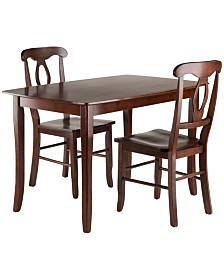 Winsome Wood Inglewood 3-Piece Dining Table with 2 Key Hole Back Chairs Set