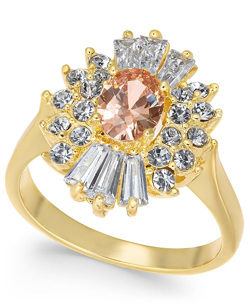 Charter Club Gold-Tone Cubic Zirconia & Stone Ring, Created for Macy's