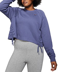 Plus Size Sportswear Lace-Up Fleece Sweatshirt