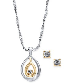 "Two-Tone Crystal Pendant Necklace & Stud Earrings Set, 17"" + 2"" extender, Created for Macy's"