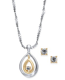 "Charter Club Two-Tone Crystal Pendant Necklace & Stud Earrings Set, 17"" + 2"" extender, Created for Macy's"