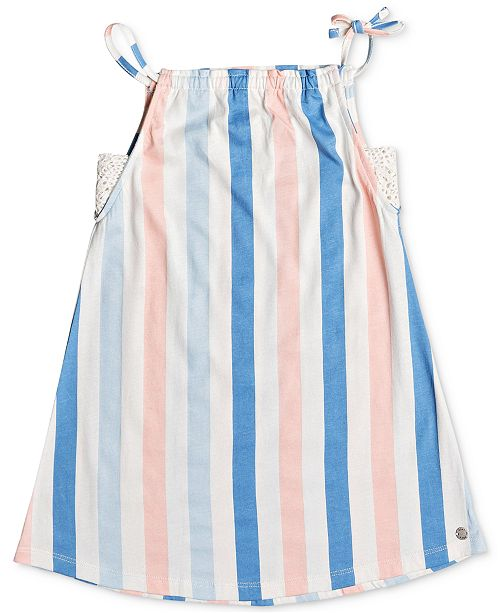 Roxy Little Girls Wake Up Calm Striped Cotton Dress