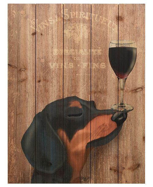 """Empire Art Direct 'Dog Au Vin Dachshund' Arte De Legno Digital Print on Solid Wood Wall Art - 24"""" x 18"""""""