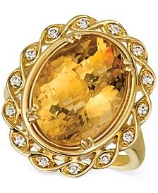 Cinnamon Citrine (7-1/4 ct. t.w.) & Nude Diamonds (1/5 ct. t.w.) Statement Ring in 14k Gold