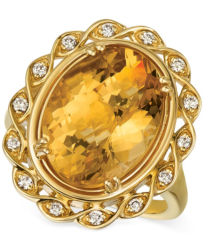 Le Vian - Cinnamon Citrine (7-1/4 ct. t.w.) & Nude Diamonds (1/5 ct. t.w.) Statement Ring in 14k Gold
