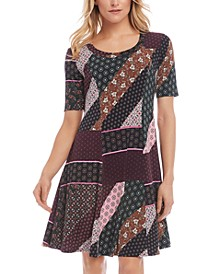Patchwork-Print A-Line Dress