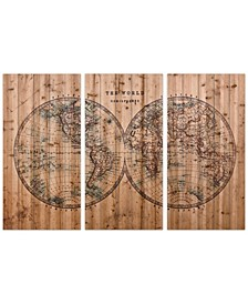 "'Cartography' 3-Piece Arte De Legno Digital Print on Solid Wood Wall Art Set - 40"" x 60"""
